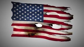 United States of America perforated, burned, grunge waving flag loop alpha. America ,United states,USA,US, bullet perforated, burned, grunge standard flag waving stock video