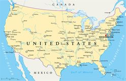 United States of America Political Map Royalty Free Stock Photography