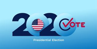 2020 United States of America presidential election logo. Text design pattern. Vector illustration. Isolated on blue background vector illustration