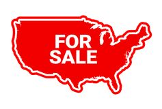 United States of America are For Sale. Privatization of country and foreign investment into american industry. Investors from abroad own american business Stock Photo