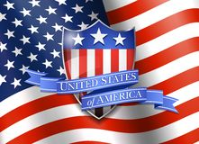 United States of America Shield with Flag Background Stock Photo