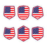 UNITED STATES OF AMERICA shield. Set of patriotic symbols. Red White and Blue shields in american flag style.Vector illustration. Stock Photo