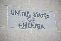 United States of America Sign. Hangs on the Department of Justice building in Washington DC Stock Images