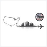 United States Of America Skyline Buildings Silhouette Background Stock Photography