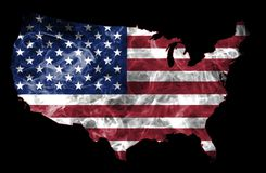 USA Smoke Flag Map. United States of America smoke flag map isolated on a black background Stock Photo