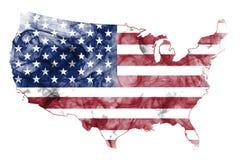 USA Smoke Flag Map. United States of America smoke flag map isolated on a white background Stock Photos