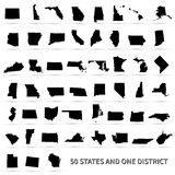United States of America 50 states and 1 federal district. US st. Ates map Royalty Free Stock Photos