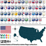 United States of America states flags collection Royalty Free Stock Photography