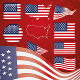 United States of America symbol set. Includes 300 dpi JPG, Illustrator CS and EPS10. Vector with transparency Stock Photos