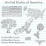 United States of America symbols sketch Royalty Free Stock Photo
