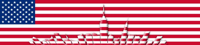 United States Of America. 4th of July, Independence Day Concept. New York City Skyline Against USA Flag  Background 3D illustration Stock Photos