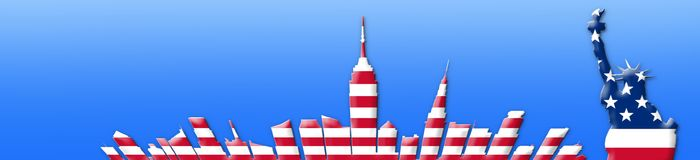 United States Of America. 4th of July, Independence Day Concept. New York City Skyline 3D Illustration Stock Image