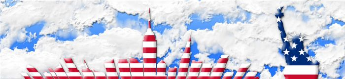 United States Of America. 4th of July, Independence Day Concept. New York City Skyline Against Sky Background 3D illustration Royalty Free Stock Image