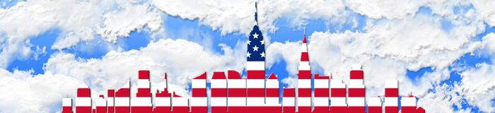 United States Of America. 4th of July, Independence Day Concept. New York City Skyline Against Sky Background 3D illustration Vector Illustration