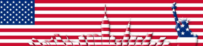 United States Of America. 4th of July, Independence Day Concept. New York City Skyline Against USA Flag Background 3D illustration Stock Photography