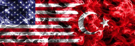 United States of America and Turkey smoke flag.  stock images