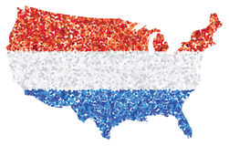 United States of America - U.S.A map made of red, white and blue confetti Royalty Free Stock Photo