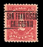 United States of America  USA - CIRCA 1925: Old postage stamp Half Cent cancelled in  San Francisco California , circa 1925 royalty free stock photography