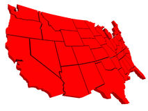 United States America USA 3d Red Map Background. United States of America USA 3d red map background to illustrate the country or nation geography Stock Images