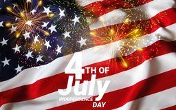 United States of America USA Flag with Fireworks Background For 4th of July. Celebrating Independence Day. Eps10 vector