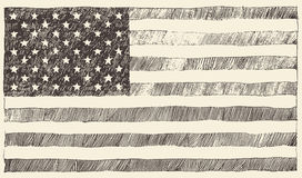 United States America USA flag vector hand drawn Royalty Free Stock Image