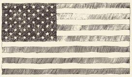United States America USA flag vector hand drawn. United States of America USA flag Vintage vector illustration hand drawn Royalty Free Stock Image