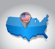 United states of America, USA map and flag Stock Photos