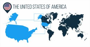 The United States of America USA map located on a world map with flag and map pointer or pin. Infographic map. Vector illustration. Isolated on white stock images