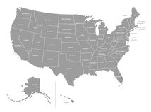 United States of America Vector Grey Map vector illustration