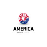 United states of America vector unusual abstract circle sign. USA isolated logo on white background emblem. Independence Stock Photos