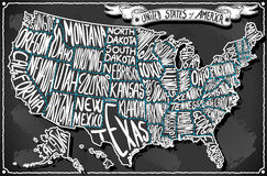United States of America on Vintage Handwriting BlackBoard Royalty Free Stock Photo