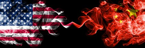 United States of America vs China, Chinese smoky mystic flags placed side by side. Thick colored silky smoke flags of America and. China, Chinese stock illustration