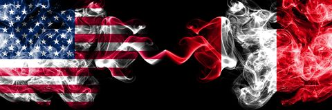 United States of America vs Peru, Peruan smoky mystic flags placed side by side. Thick colored silky smoke flags of America and. Peru, Peruan vector illustration