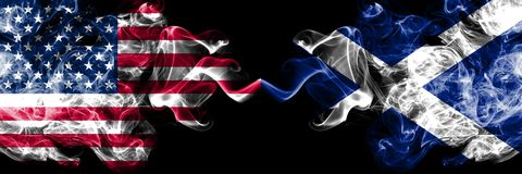 United States of America vs Scotland, Scottish smoky mystic flags placed side by side. Thick colored silky smoke flags of America stock illustration
