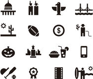 United States of America web icons. Illustrated set of flat glyph web icons relating to the USA Stock Photo