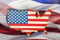 United States. An American flag in the shape of the United States Royalty Free Stock Photos