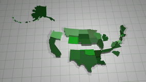 United States Animation. An animation of each state rising upwards stock video