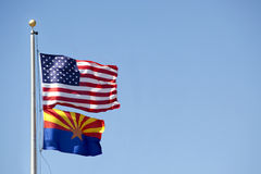 United States & Arizona Flag Royalty Free Stock Images