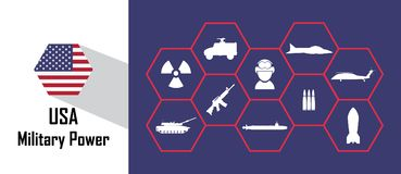 Usa military power icon with hexagon flag. Free royalty images. Royalty Free Stock Photos