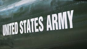 United States Army helicopter. The words United States Army spelled out on helicopter stock video