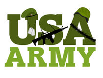 United States Army. Military text logo. American army. Green ber Stock Image