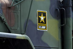 United States Army Military Vehicle. A military truck displays a U.S. Army decal at the Huntington Beach 4th of July Parade. CA USA Royalty Free Stock Images