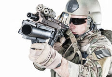 United States Army ranger with grenade launcher. United States Army ranger with assault rifle and grenade launcher Royalty Free Stock Photography