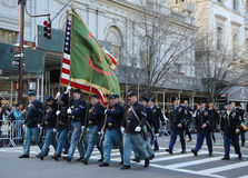 United States Army Rangers marching at the St. Patrick`s Day Parade in New York. Royalty Free Stock Photography