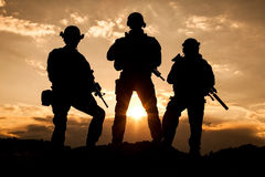 United States Army rangers. On the sunset Stock Photos