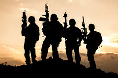 United States Army rangers. On the sunset Stock Image