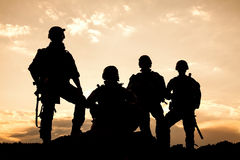 United States Army rangers. On the sunset Royalty Free Stock Photography
