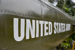 United States Army. The words United States Army spelled out on an sheet of plate metal of an helicopter of the Vietnam War in Hanoi Stock Photo
