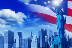 United States Background. Concept with New York Skyline and the Statue of Liberty Stock Images