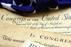 United States Bill of Rights. Preamble to the Constitution of the United States and American Flag Royalty Free Stock Image